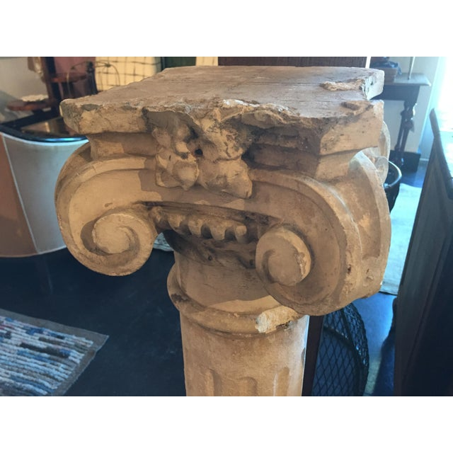 Beautiful classical stone Ionic column from France, c.1940s. This attaches in three pieces with base, fluted column and...