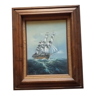 Vintage Baill Nautical Sailing Ship Oil Painting/Print For Sale