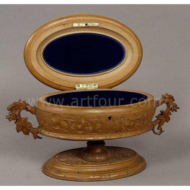 Antique Wooden Carved Casket With Birds, Brienz Ca 1890 For Sale - Image 4 of 6