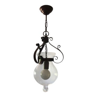 Italian Pendant Light With Glass Globe For Sale