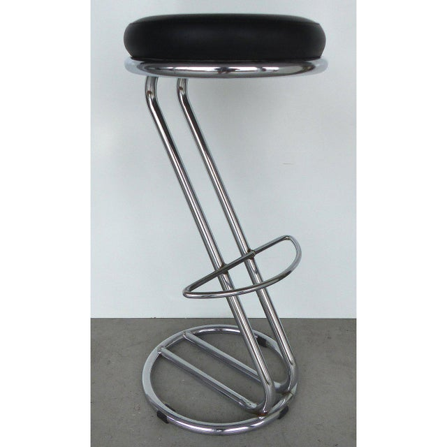Italian Mid-Century Modern Chrome Bar Stools - a Pair For Sale - Image 4 of 9