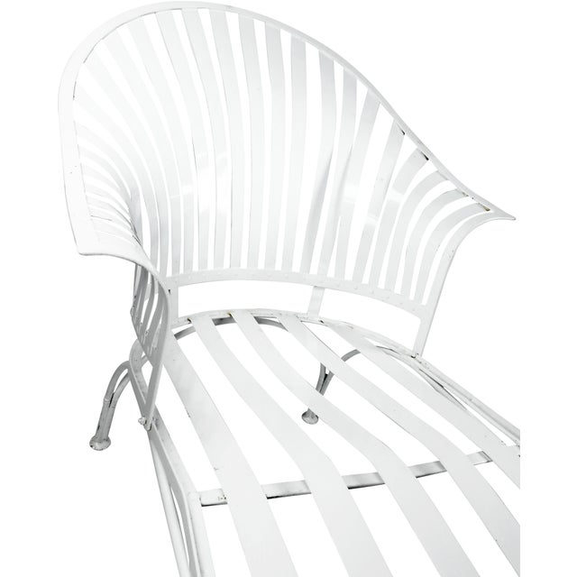 Francois Carre Vintage Fan Back Patio Chaise Lounge For Sale - Image 9 of 11