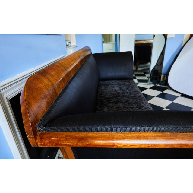 Early 19th Century Biedermeier Sofa of Cherry in Black Horsehair Fabric For Sale - Image 9 of 12