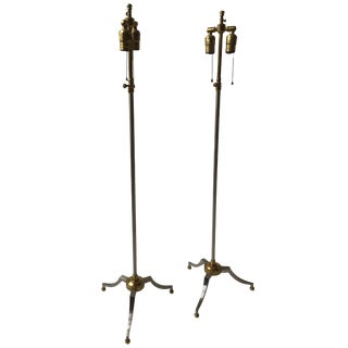 Pair of Maison Jansen Style Steel and Brass Adjustable Floorlamps For Sale