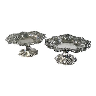 Antique Sterling Silver Compotes, Made by Wm. B. Durgin and Co. - a Pair For Sale