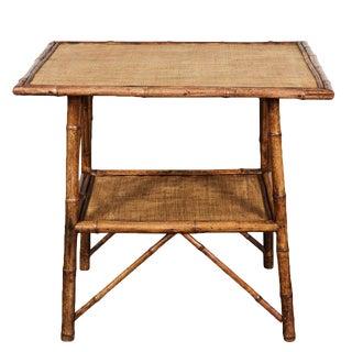 Large Rectangular English Victorian Bamboo Table