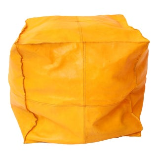 Leather Mustard Moroccan Ottoman Pouf Cover For Sale