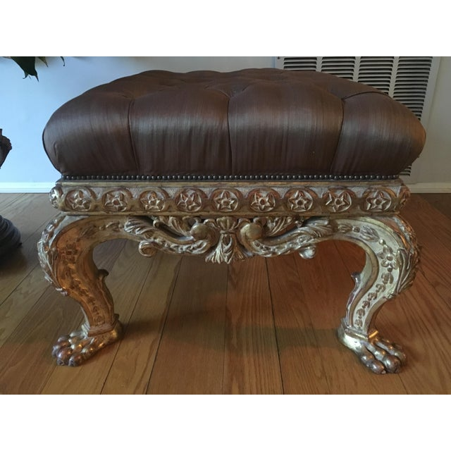 Gold Empire Lion Paw Giltwood Tufted Ottoman For Sale - Image 8 of 10