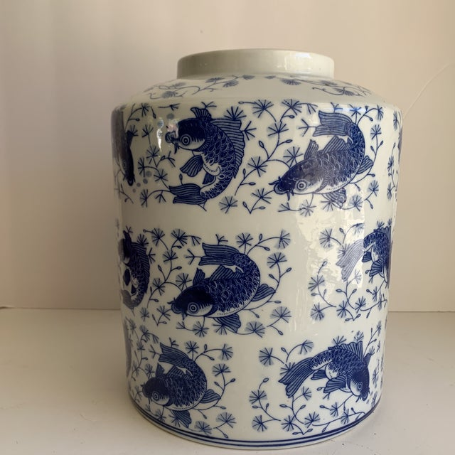 White Blue & White Asian Koi Fish Ceramic Vase For Sale - Image 8 of 9