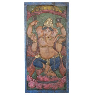 Vintage Lost Art Yoga Zen Indian Carved Dancing Ganesha Sculptural Panel Door