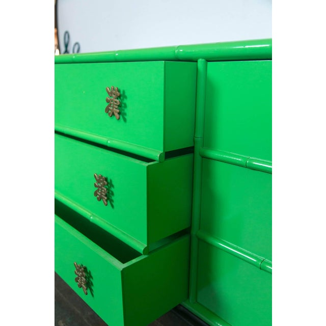 Ficks Reed 1970s Chinoiserie Ficks Reed Green Faux Bamboo Credenza For Sale - Image 4 of 9