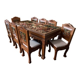 Thai Dining Set With Carved Battle Scene - 9 Pieces For Sale