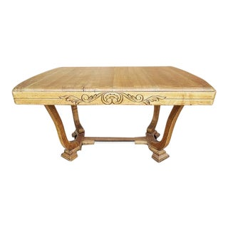 Antique Vintage French Oak Art Deco Style Dining Table