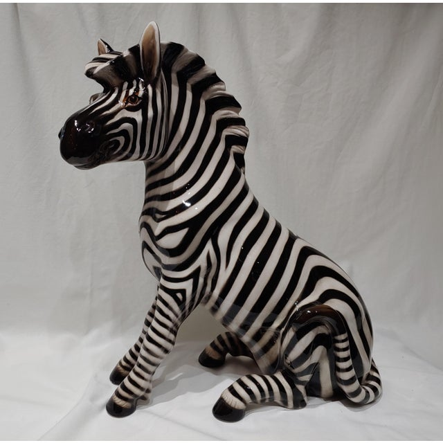"""Ceramic 1950s Italian Porcelain 18"""" Zebra With Makers Marks For Sale - Image 7 of 7"""