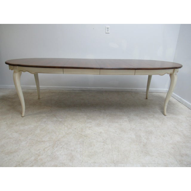 French Country Ethan Allen Dining Room Banquet Table For Sale In Philadelphia - Image 6 of 12