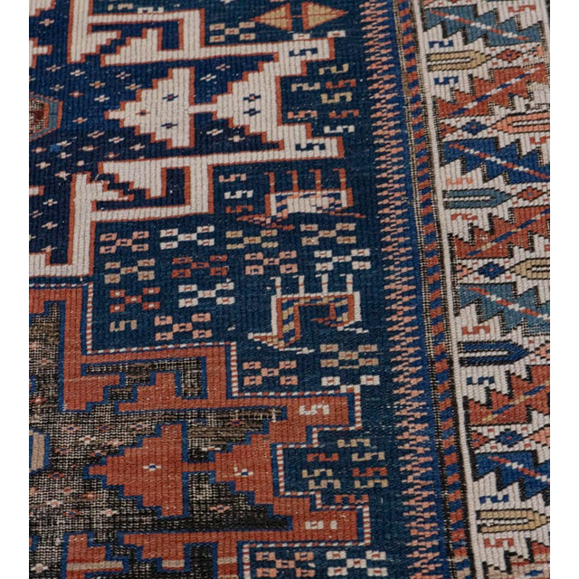 Early 20th Century Handwoven Antique Wool Caucasian Rug For Sale - Image 5 of 8
