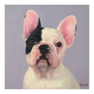 Modern Contemporary French Bulldog Puppy Oil Painting For Sale