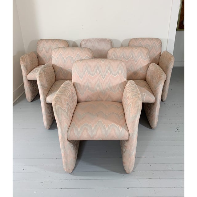 1980s 1980s Vintage Levone Flame Stitched Dining Arm Chairs- Set of 6 For Sale - Image 5 of 5
