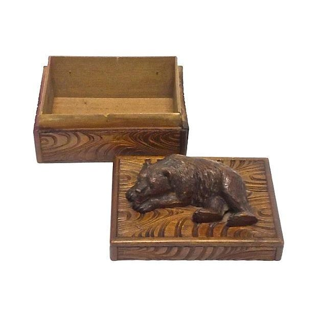 Antique Black Forest Carved Bear Box - Image 3 of 5