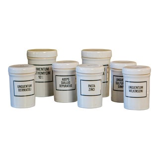 Set of Seven Ironstone Pharmacy Jars For Sale