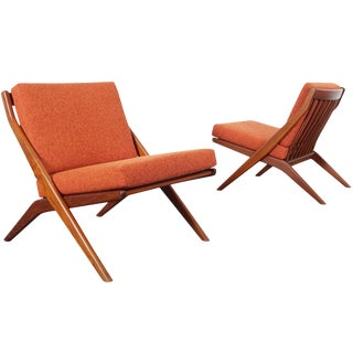 "Vintage Teak ""Scissor"" Lounge Chairs by Folke Ohlsson for Dux For Sale"