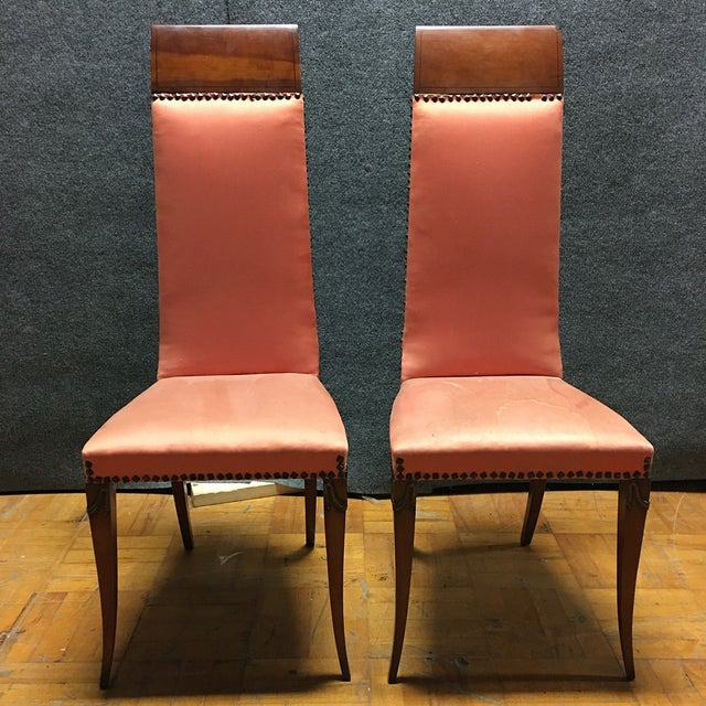 Antique Orange High Back Chairs - A Pair - Image 7 of 7