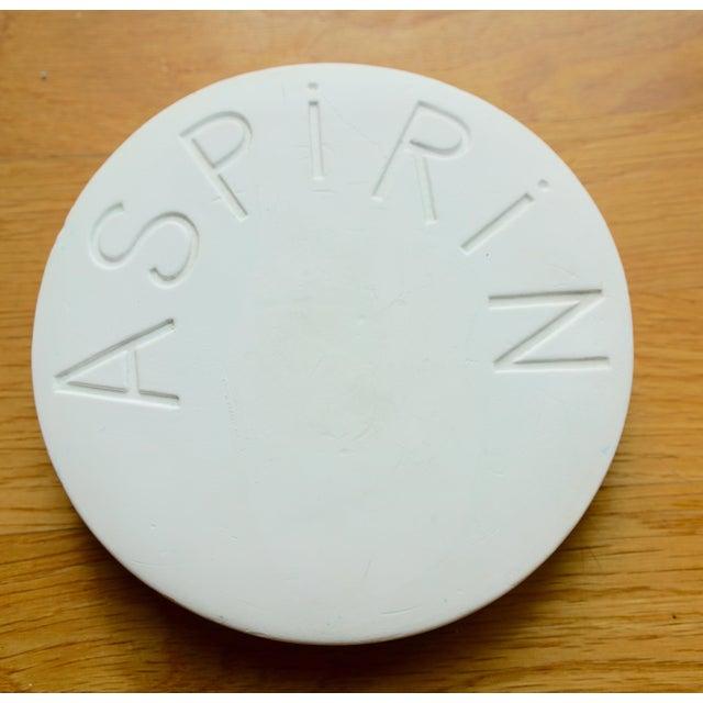 """Aspirin"" pill plaster paperweight. Looks like a giant aspirin. Really cute quirky eccentric fun decor."