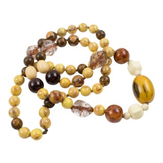 Extra Long Bakelite and Lucite Necklace Warm Fall Colors Marble Beads For Sale