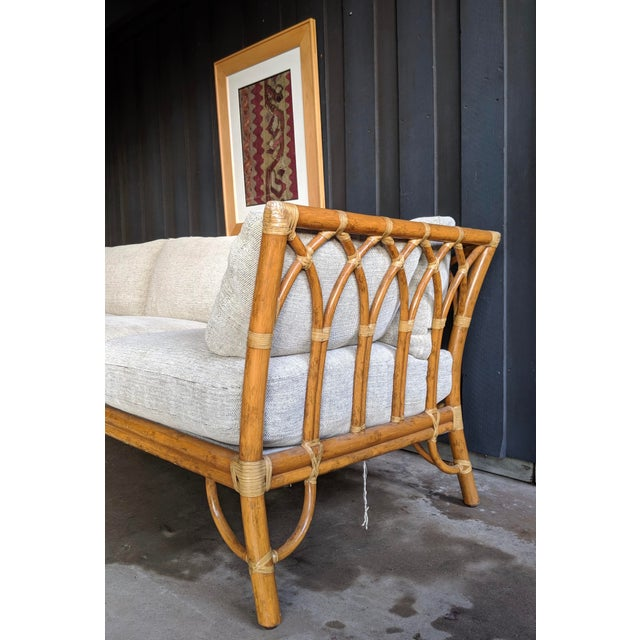 Brown 1980s Contemporary McGuire Bamboo Rattan Sofa For Sale - Image 8 of 11