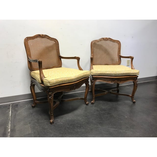 Carved French Style Open Armchairs with Cane Backs - A Pair - Image 2 of 11