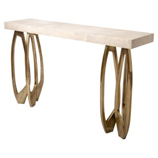 Lily Console in Cream Shagreen & Bronze-Patina Brass by R&y Augousti For Sale