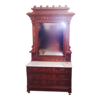 1880 Victorian American Eastlake Marble Top Dresser and Mirror For Sale