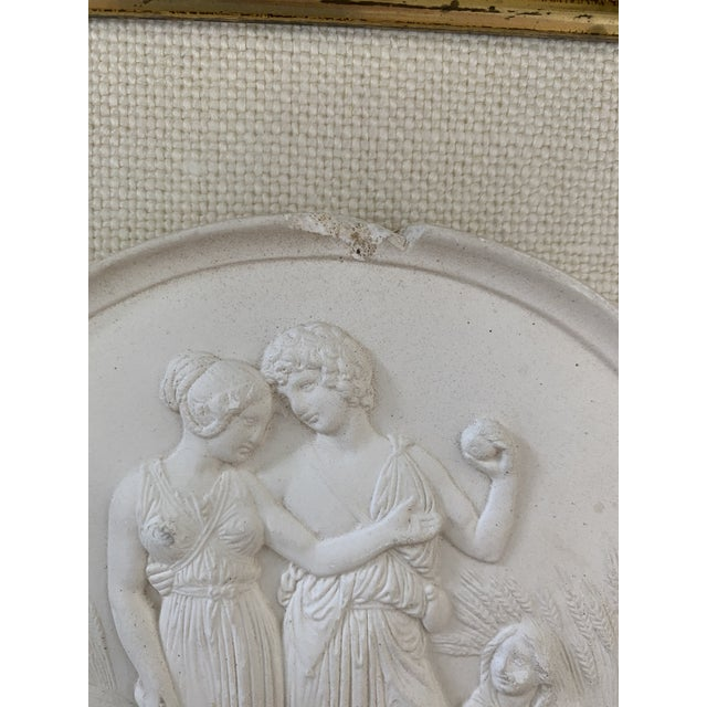 Off-white Antique Plaster Intaglio Plaque Framed in Antique Walnut and Gilt Frames - a Pair For Sale - Image 8 of 13