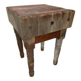 Antique Butcher Block Table For Sale