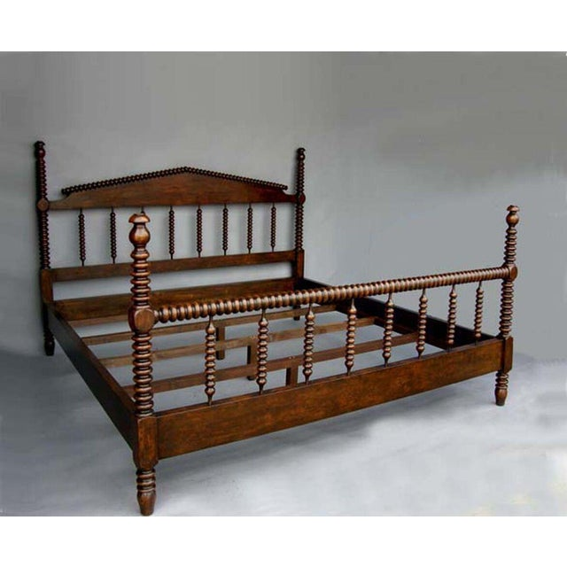 American Classical Custom Walnut Wood Bobbin Bed With Turned Spindle Head and Foot Boards For Sale - Image 3 of 3