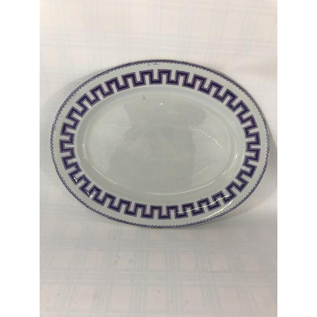 Ceramic Large Ironstone Greek Key Platter For Sale - Image 7 of 7