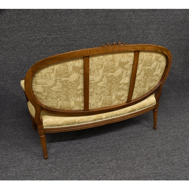 Chinoiserie 19th Century French Louis XVI Style Carved Chinoiseries Canape Settee For Sale - Image 3 of 12