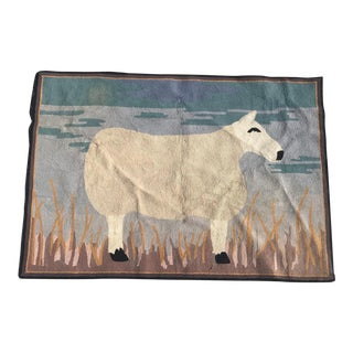"Wool Folk Art Hook Rug - 4'10"" x 6'10"" For Sale"
