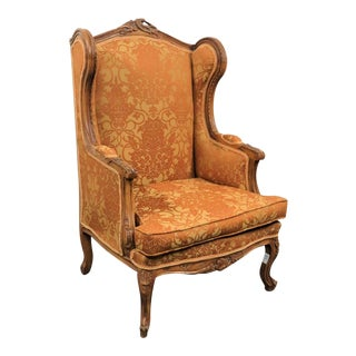 Louis XV Carved Walnut Wing Chair For Sale