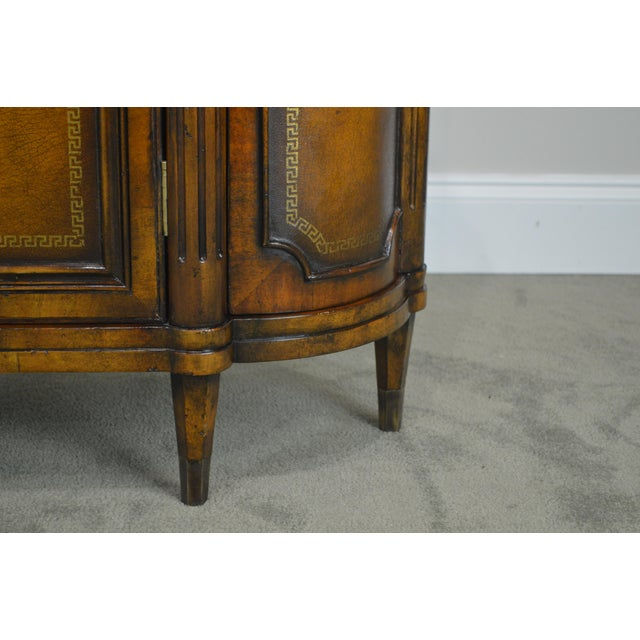 John Richards Regency Style Mahogany Leather Wrapped Console Cabinet For Sale - Image 11 of 12