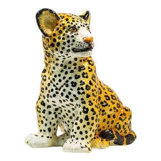 Vintage Italian Ceramic Cheetah Sculpture For Sale