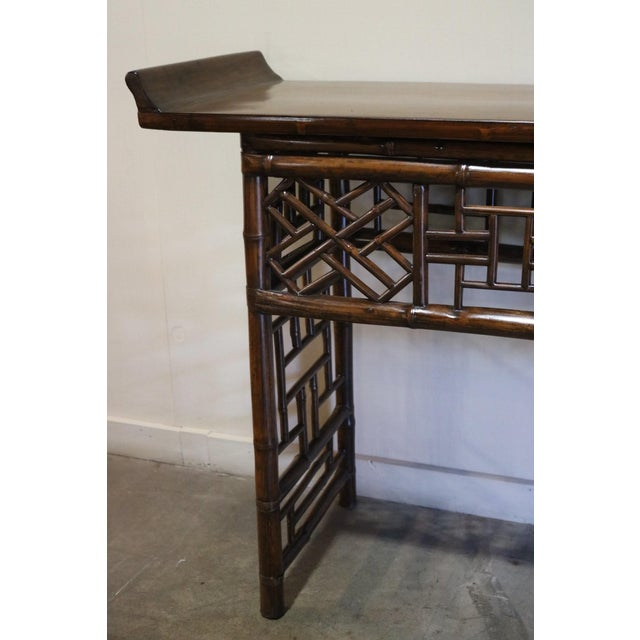 Asian Late 19th Century Bamboo Altar Table For Sale - Image 3 of 7
