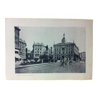 """Circa 1930 """"Piazza Cordusio"""" Print of Milano Italy For Sale"""