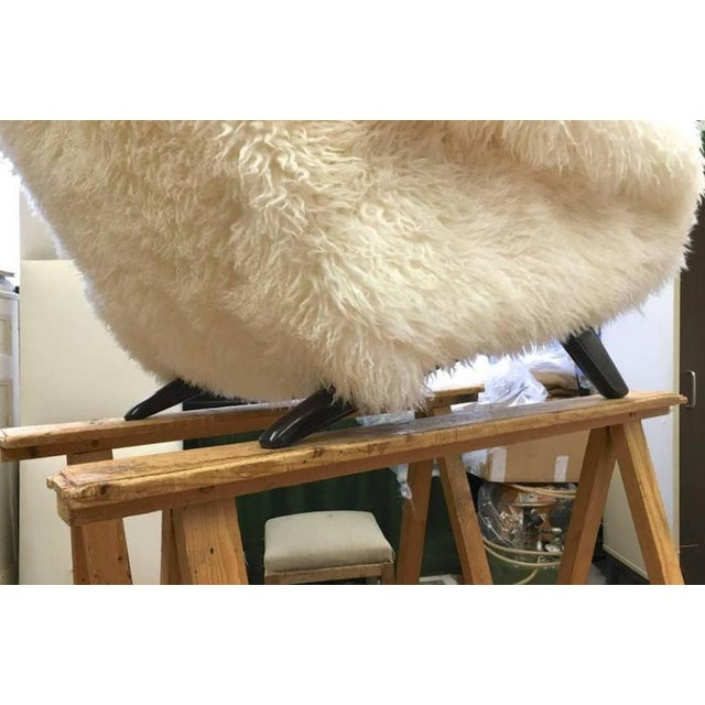 1950s Illum Wikkelso Spectacular Hammer Lounge Chair Covered in Natural Sheepskin Fur For Sale - Image 5 of 9