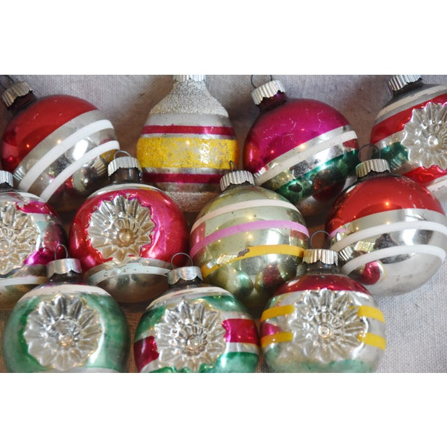 Cardboard Retro Midcentury Colorful Christmas Tree Ornaments W/Box - Set of 12 For Sale - Image 7 of 10