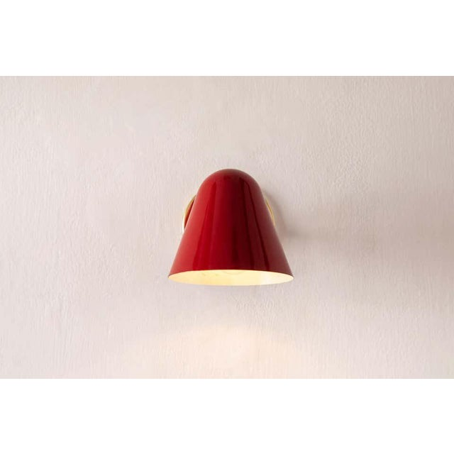 1950s Jacques Biny Red Wall Lights - a Pair For Sale In Los Angeles - Image 6 of 13