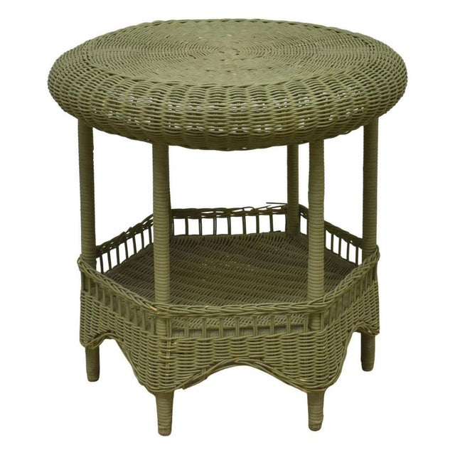 Vintage Light Green Painted Wicker Round Side Table For Sale - Image 13 of 13