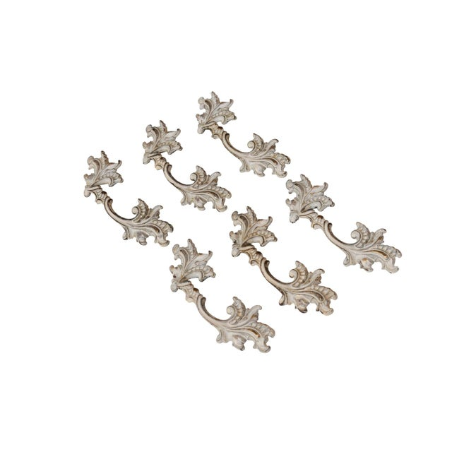 Off White Brass Acanthus Leaf Handles - Set of 6 - Image 2 of 5