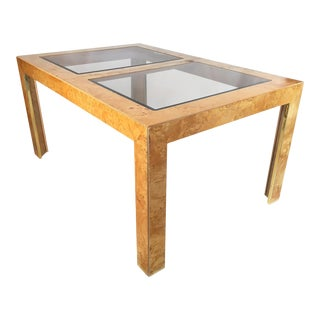 Burl Wood and Brass Dining Table by Thomasville
