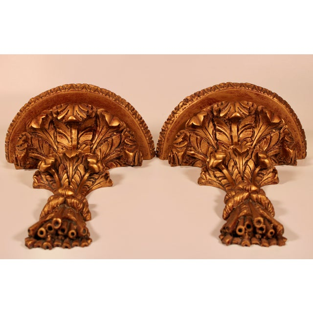 1960s Hollywood Regency Italian Golden Wheat Wall Shelves - a Pair For Sale In Tulsa - Image 6 of 11